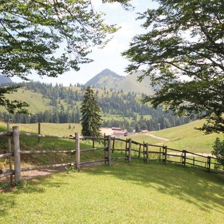 Blick auf den Garten und die Umgebung, © im-web.de/ Tourist-Information Bayrischzell